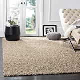SAFAVIEH Athens Shag Collection SGA119G Non-Shedding Living Room Bedroom Dining Room Entryway Plush 1.5-inch Thick Area Rug, 8' x 10', Beige