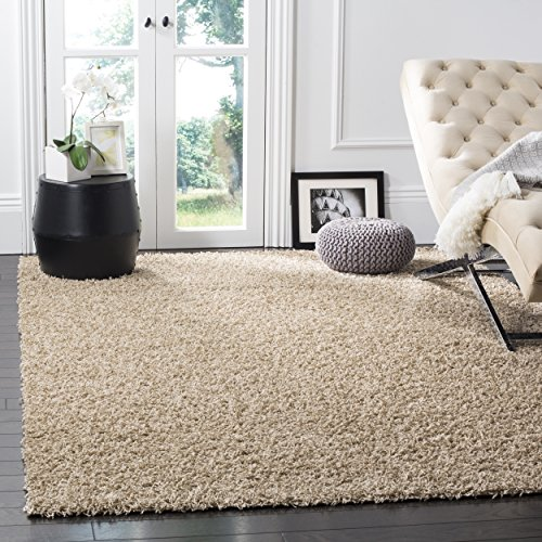 Safavieh Athens Shag Collection SGA119G 1.5-inch Thick Area Rug, 8' x 10', Beige