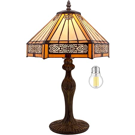 """Tiffany Lamp Bedside Table Lamp Yellow Hexagon Stained Glass Mission Style Reading Desk Light 18"""" Tall Lover Livingroom Bedroom Library Banker Hotel Luxurious Victorian WERFACTORY LED Bulb Included"""