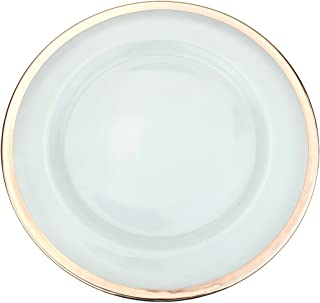 Clear Glass Charger 13 Inch Dinner Plate With Metallic Rim - Set of 4 - Rose Gold