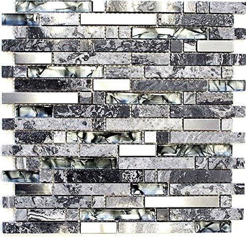Mosaik Fliese Transluzent Edelstahl grau Verbund Glasmosaik Crystal Stein Stahl grau für WAND BAD WC DUSCHE KÜCHE FLIESENSPIEGEL THEKENVERKLEIDUNG BADEWANNENVERKLEIDUNG Mosaikmatte Mosaikplatte
