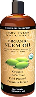 Organic Neem Oil (16 oz), USDA Certified, Cold Pressed, Unrefined, Premium Quality, 100% Pure Great for Skincare and Hair ...