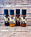 Mixed Pumpkin Hand Sanitizer Gel 75% Isopropyl Alcohol scented Travel size Aloe waterless Amber colored plastic bottles 4 pack Fall scents Gift set Cinnamon Ginger stocking stuffer 4 pack