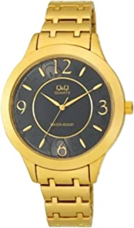 Q&Q Women's Black Dial Yellow Gold Plated Band Watch - F477-005Y
