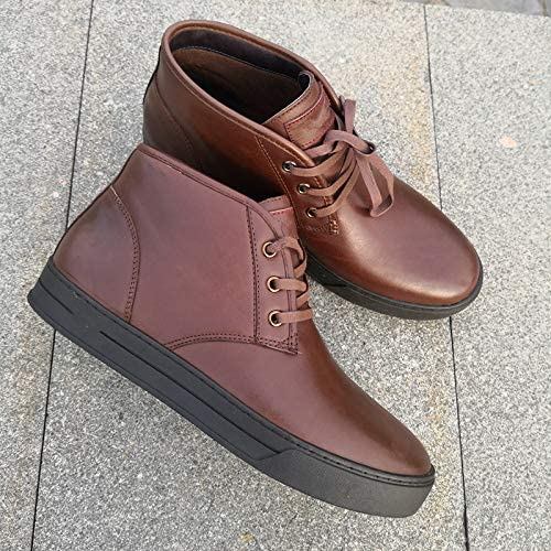 LOVDRAM Men's Leather chaussures Autumn and Winter Top chaussures Wax Sense Leather chaussures Fashion Casual Tie Men's chaussures Warm Cotton chaussures