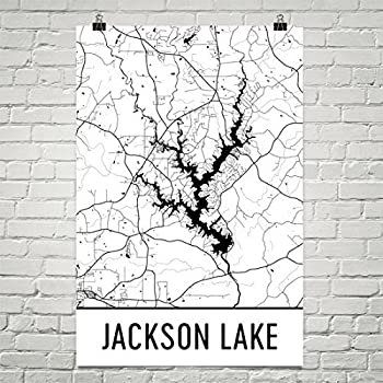 Jackson Lake Georgia Jackson Lake GA Jackson Lake Map Georgia Map Lake Map Georgia Lake Art Georgia Art Jackson Poster 12 x18