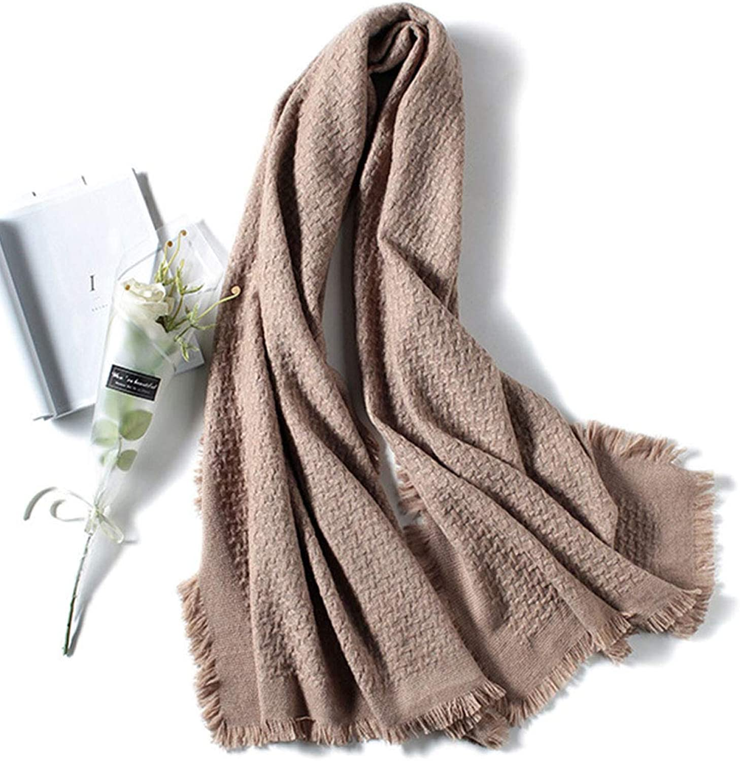 HUIFANG Thick Wool Shawl Women Increase Europe and America Autumn and Winter Woven Scarves Dualuse Wild Warm Camel 70  200CM A (color   Brown, Size   70  200CM)