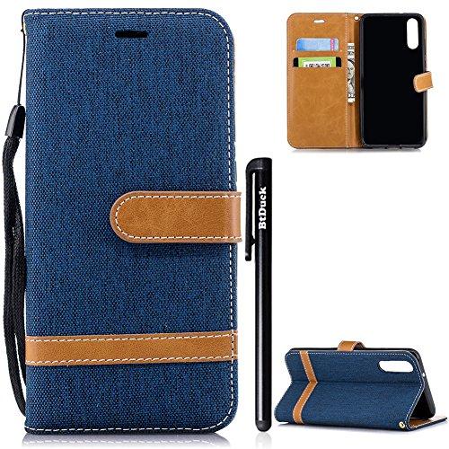 BtDuck Huawei P20 Hülle, Denim PU Leder Dünn Tasche Leder Stand Brieftasche Damen Weich Silikon Back Cover Hülle mit Magnetverschluss Kartenfach Schutzhülle Handyhülle für Huawei P20 Tiefes Blau