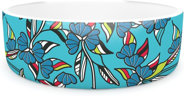 Kess InHouse Michelle Drew Paper Leaf bluee  Pet Bowl, 7Inch
