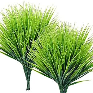 Teldrassil 15-Bunches Artificial Wheat Grass UV Resistant Fake Greenery Plastic Shrubs for Indoor Outdoor Window Home Garden Decoration