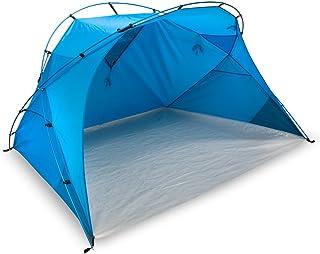 outdoorer carpa de playa XXL Santorin Alu Air, protección contra el sol UV 80, azul, grande, con ventana para la ventilación, embalaje pequeño para el viaje, ligero gracias a las barras de aluminio