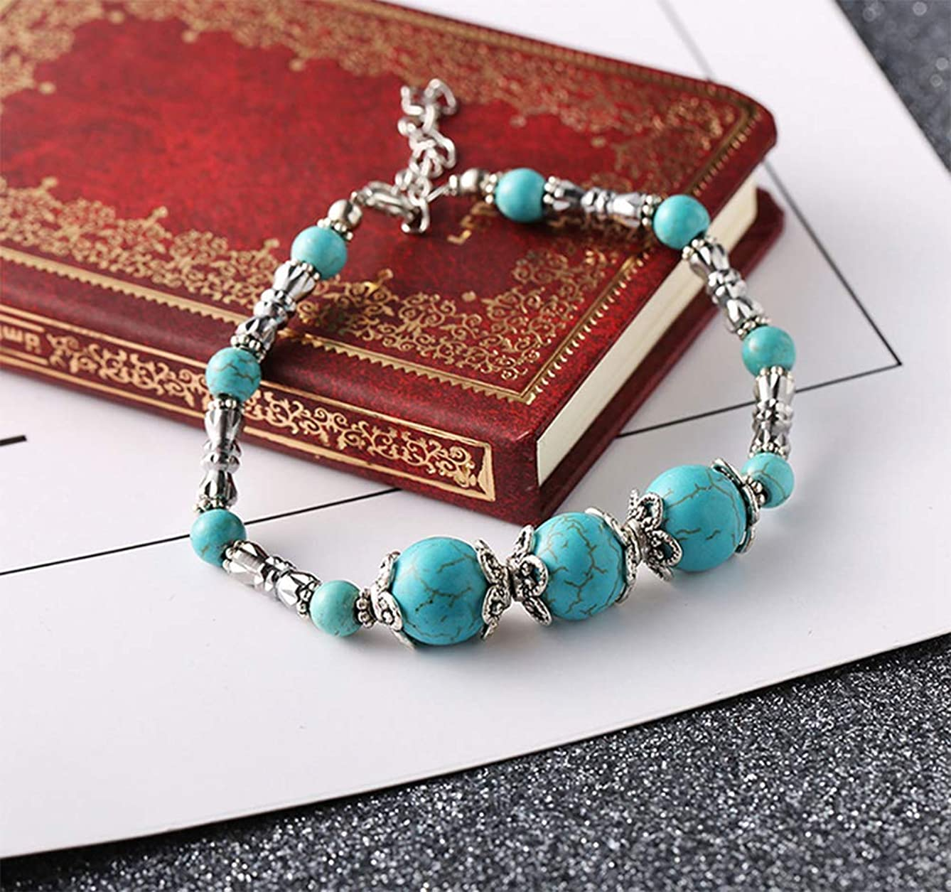 QIANQIAN Popular Vintage Silver Plated Floewr Handmade Beaded Turquoise Adjustable Lobster Clasp Snake Bone Bracelet Men Women