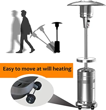 MitoColor 2 Set Patio Heater Outdoor Heater Outdoor Propane Heater Patio Tall Standing Heater, 48000 BTU Silver Umbrella Heat