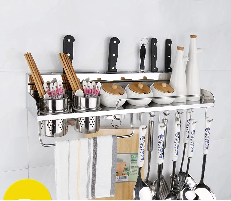 Stainless Steel Kitchen Shelf, Wall Racks, Storage Racks, Knife Racks, Pendants 304 Seasoning Spices Shelf40cm ( Size   60cm )