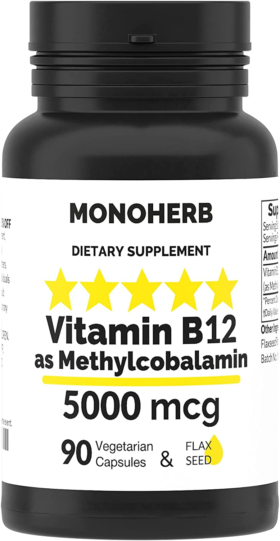 Super sale period limited Columbus Mall Vitamin B12 Methylcobalamin 5000 mcg Capsules 90 Vegetarian -