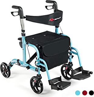 GOPLUS 2 in 1 Folding Rollator Walker, 4 Wheel Medical Rolling Walker with Adjustable Handle and Carry Bag for Adult, Senior, Elderly & Handicap, Aluminum Transport Chair Mobility Rollator (Blue)
