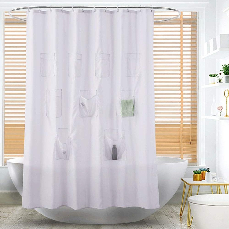 不調和クランシー氷多機能無地カラーパッド入り防水ポリエステルシャワーカーテンバスルームは、ポケットホテルの仕切りカーテンに配置することができます180 * 180 CM(71 * 71 IN) フェンコー
