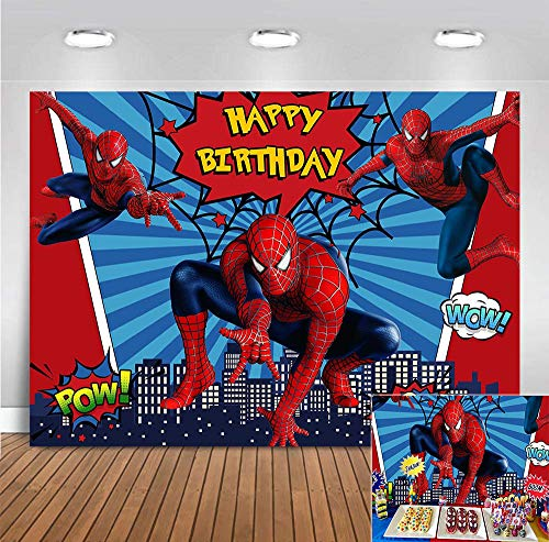 Red Spider Web Blue Stripe Photography Backdrop 7x5ft Vinyl Super Cityscape Photo Background Baby Boys Girls Happy Birthday Supplies Superhero Party Banner Cake Table Decorations Photo Booths