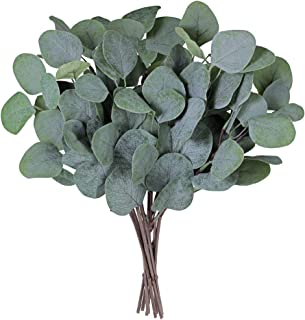 SUPLA 10 Pcs Fake Eucalyptus Leaves Stems Bulk Artificial Silver Dollar Eucalyptus Leaves Plant in Grey Green 11.8