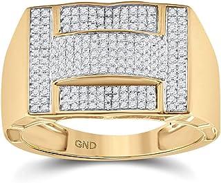 FB جواهر الذهب الأصفر 10kt رجل جولة الماس العنقودية الدائري 1/2 Cttw