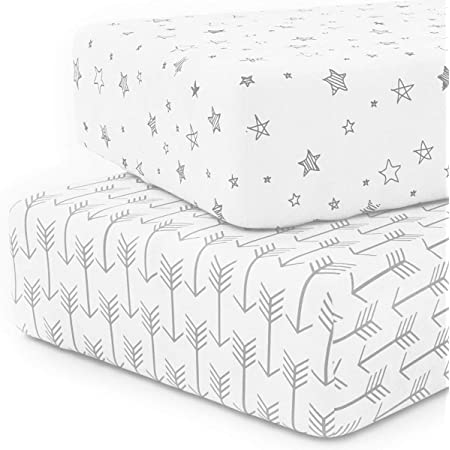 Amazon Com Crib Sheet Set 100 Jersey Cotton 2 Pack Fitted Cotton Baby Toddler Universal Crib Sheets Unisex Kitchen Dining