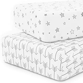 Crib Sheet Set 100% Jersey Cotton, 2-Pack, Fitted Cotton Baby & Toddler Universal Crib Sheets Unisex