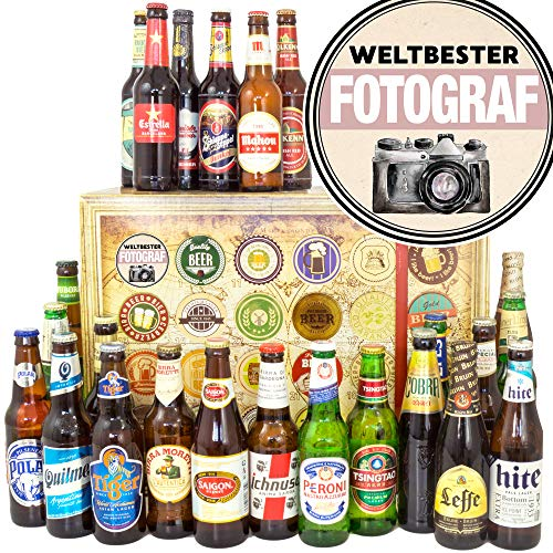Weltbester Fotograf + 24 Biere aus aller Welt + Geschenk Fotograf + Adventskalender Bier Welt