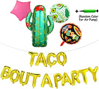 """Teslasz Taco Bout A Party Foil Ballons,24"""" Large Cactus Ballon for Mexican Party Supplies,Fiesta Theme Baby Shower,Party Decorations Banner with Air Pump,19 Pcs"""