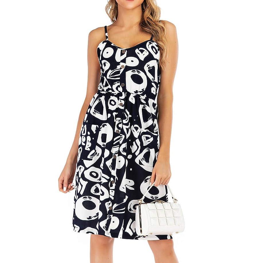 Women Boho Strap Midi Dress Button Down Skater Pocket Sleeveless Retro Print Backless Swing Pleated Short Beach Dresses