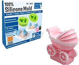RETAIL SUPPLIES IndoSilico Baby cart Mold, Silicone DIY Art Mould Multipurpose Wax, Clay, Resin, Sugar, Cement Craft Project