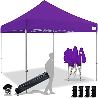 10x10 Feet, Beige MASTERCANOPY Pop Up Canopy Tent Commercial Instant Canopies with Heavy Duty Roller Bag,Bonus 4 Canopy Sand Bags
