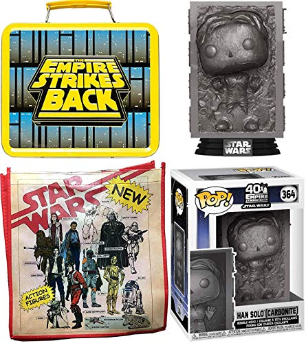 Empire Star Wars Figure Pop! Vinyl Bundled with Luke Skywalker VS Darth Vader Metal Lunchbox + Han Solo in Carbinite Iconic Character Use The Force & Retro Toy Ad Tote Bag 3 Items