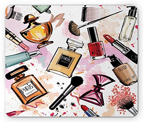 Mode Mauspad, Kosmetik und Make-up Thema Muster mit Parfüm Lippenstift Nagellack Pinsel modern, Rechteck rutschfest Gummi Mauspad, Standardgröße, Korallenweiß