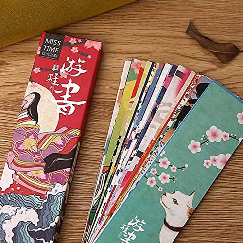 XINGSd Marcapáginas de papel de aspecto bonito, 30 piezas/caja, estilo vintage, estilo japonés, para niños, estudiantes, libros, escuela, oficina, regalo en estilo fino Picture Color