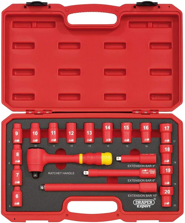 DRAPER d19vde 3 8 Zoll Vierkantantrieb VDE Socket Set, blau, 19 B074MKXP6F   Überlegene Qualität