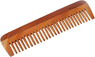 HealthAndYoga(TM) Handcrafted Neem Wood Comb - Non-Static and Eco-Friendly - Great for Scalp and Hair Health -7 inch Wide Toothed