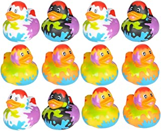 Kicko Splat Pattern Rubber Ducks - 2 Inch Vinyl Colorful Painted Duckies - for Party Favors, Pack of 12