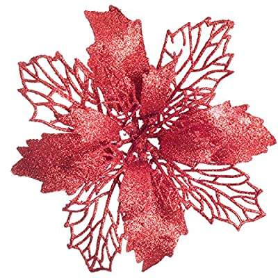 Glitter Red Poinsettia Christmas Wreath Christmas Tree Ornaments