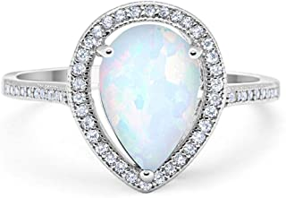 Blue Apple Co. Halo Teardrop Pear Shape Simulated Cubic Zirconia Bridal Ring 925 Sterling Silver Choose Color
