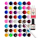 Coscelia Nailart UV Nagelgel 48 Farben Profi-UV Gel Farbgel + Cleanser Plus+ Topcoat+UV Pinsel,einen bunten Mix