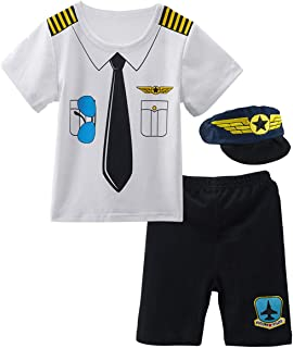 Baby Boys' Pilot Costume Short Sleeve Outfits with Hat