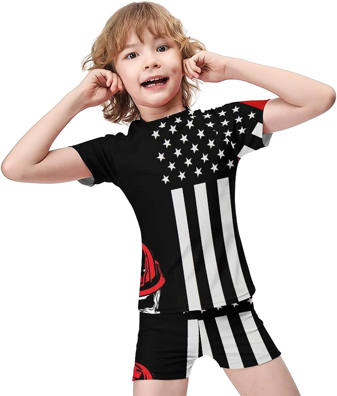 Yiaoflying Kids Boys 2 Piece Swim Set - Skull Fireman US Flag Rashguard Swimsuit Trunks