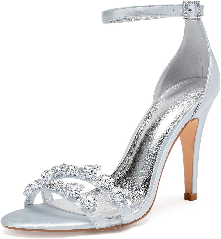 Elobaby Frauen Hochzeitsschuhe Satin Abend Plattform Plattform Party Strass Chunky Peep Toe High Heels Braut Mitte   10,5 cm Ferse  Blitzlieferung
