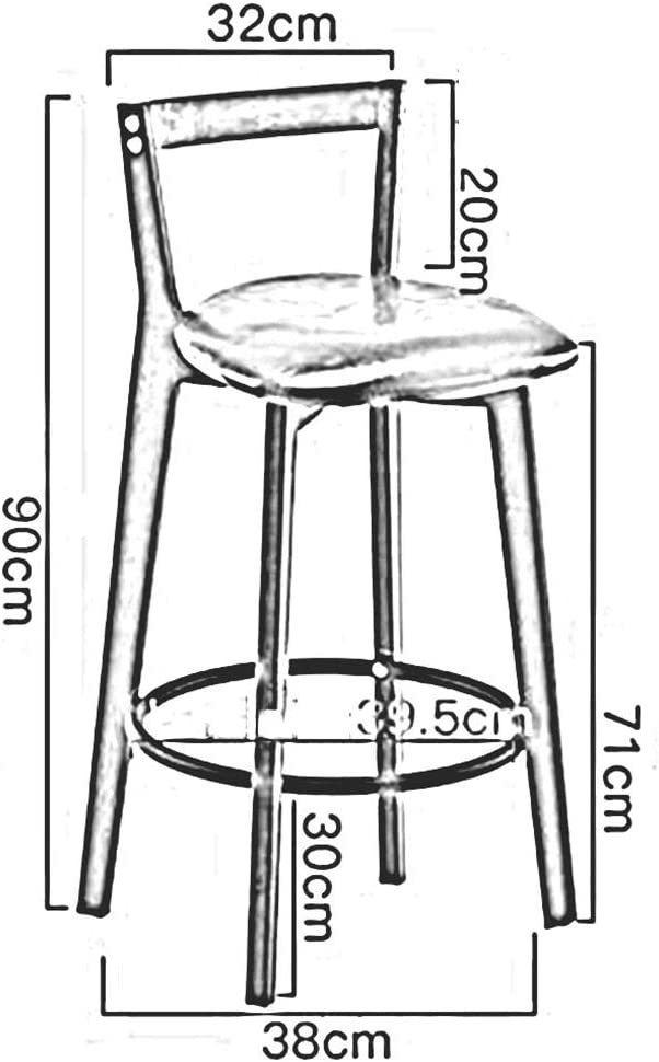 DALL Tabouret De Bar Bois Massif Tabourets Hauts Siège en PU Meuble Moderne Chaise De Salle À Manger Assemblée Hauteur D'assise 71m (Color : Black) White