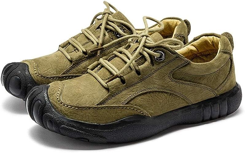 JIALUN-chaussures Chaussures de Randonnée Athlétique pour Homme Cuir Véritable Confortable Doux Végan Antidérapant Plat à Lacets pour éviter Les collisions