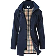 SaphiRose Women's Long Hooded Rain Jacket Outdoor Raincoat Windbreaker