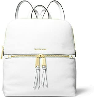 MICHAEL Michael Kors Rhea Medium Slim Leather Backpack in Optic White