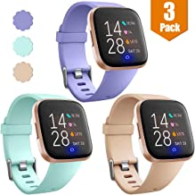Maledan Replacement Bands For Fitbit Versa/Versa 2/Versa Lite Edition/Versa Special Edition, Waterproof Accessories Sport Band for Fitbit Versa Smart Watch Women Men, 3-Pack, Large Small