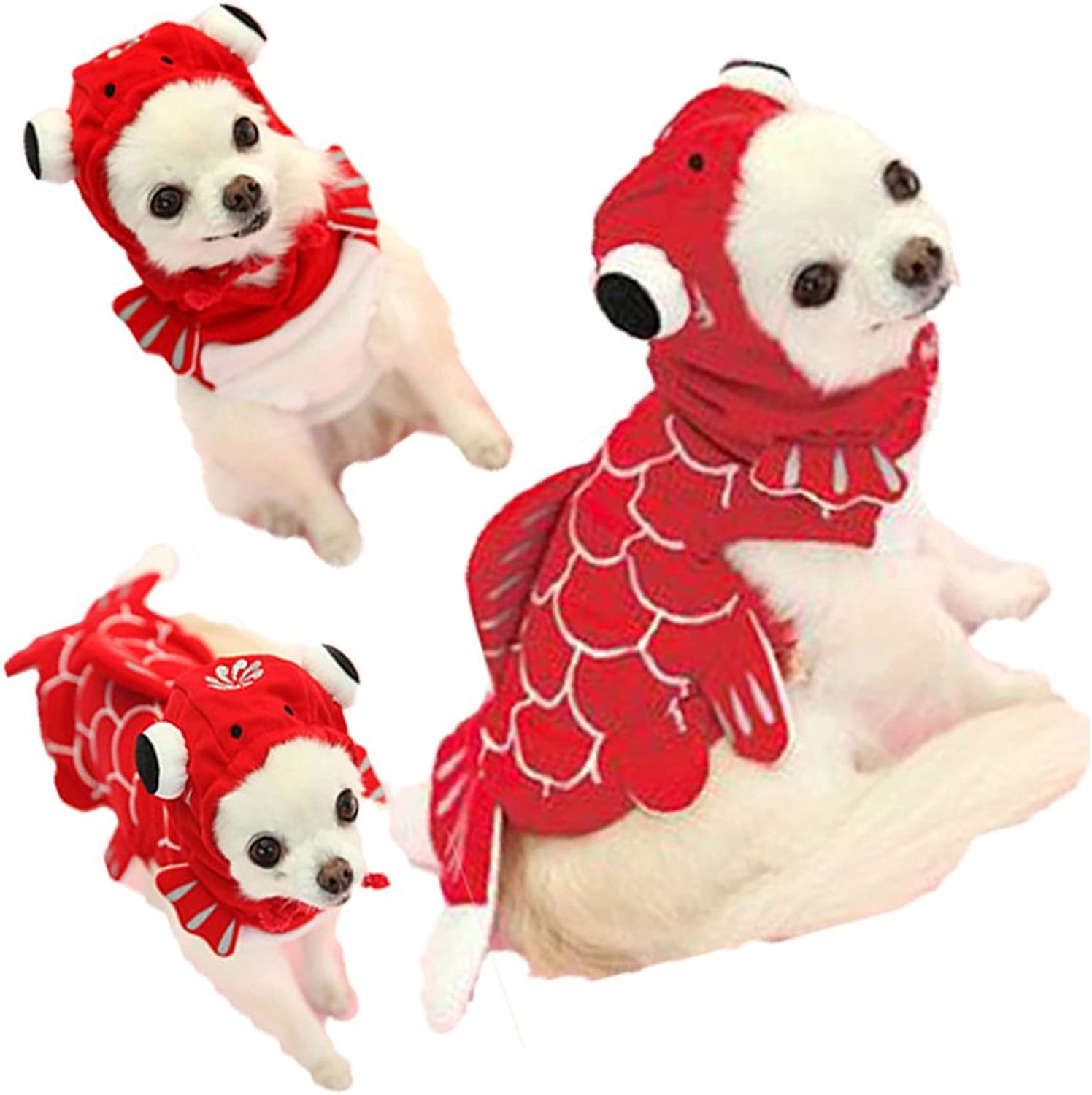 FLAdorepet Funny Halloween Dog Giraffe Costume Outfits Clothes Winter Warm Fleece Dog Pet Cat Jacket Coat Hoodie (XL, Red)