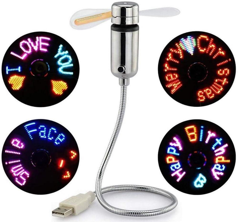 Attoe Ventilador programable USB, Mini USB LED de Fan, con Mensaje de Gooseneck Flexible programable RGB, función de Memoria de Pantalla LED para Ordenador portátil RGB